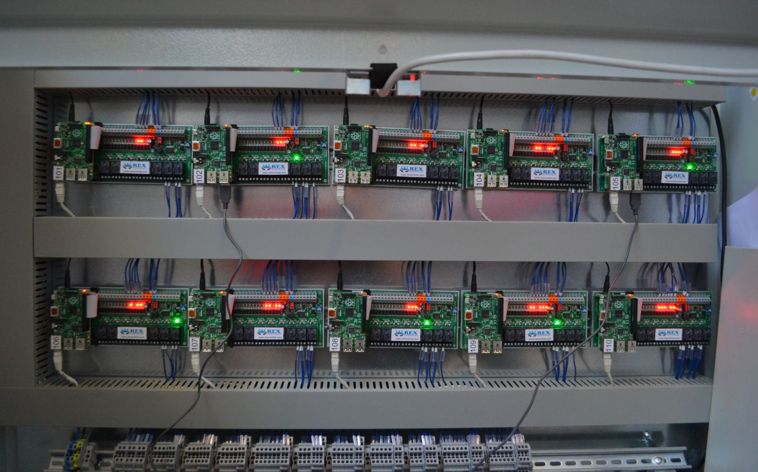 Distribution box with 10 UniPi controller boards